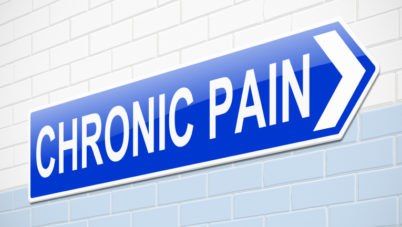 Illustration depicting a sign with a chronic pain concept.
